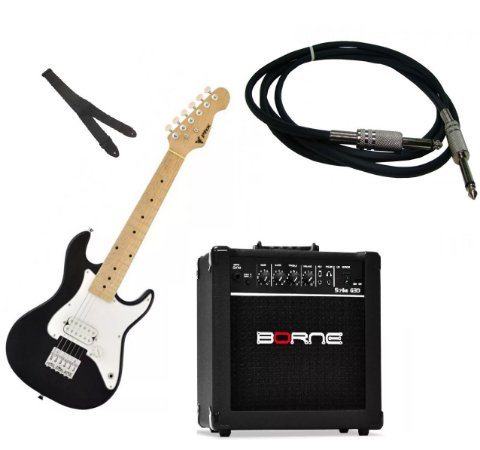 Kit Guitarra Infantil Phoenix Strato Preta +cubo G30 + Cabo 3m + Alça