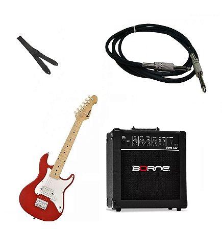 Kit Guitarra Infantil Phoenix Strato Vermelho +cubo G30 + Cabo 3m + Alça