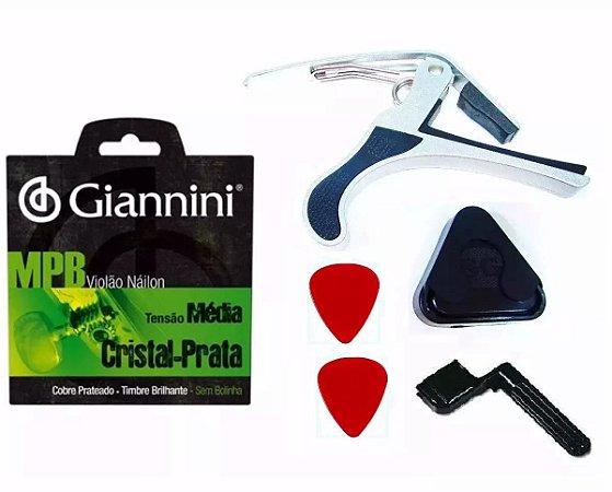 Kit Para Violão Com Encordoamento Giannini Nylon Capotraste Porta Palheta Com Palhetas E Encordoador