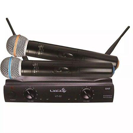 Microfone Sem Fio Duplo De Mão Lyco Uhf Profissional Uh-02mm