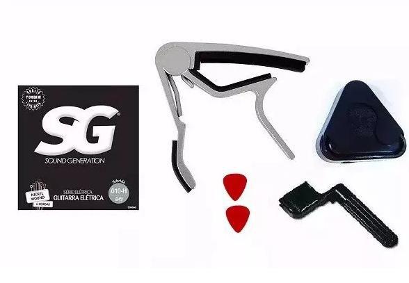 Kit Acessórios Guitarra C/ Capotraste Encordoador Porta Palheta Corda SG 0.10 e Palheta Nig
