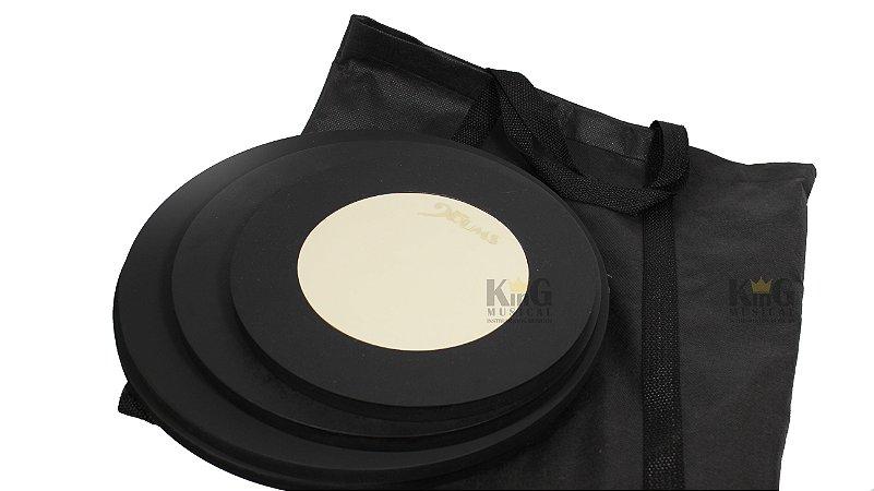 Kit Pad Completo Abafador De Bateria 4 Peças Nevada Com Bag
