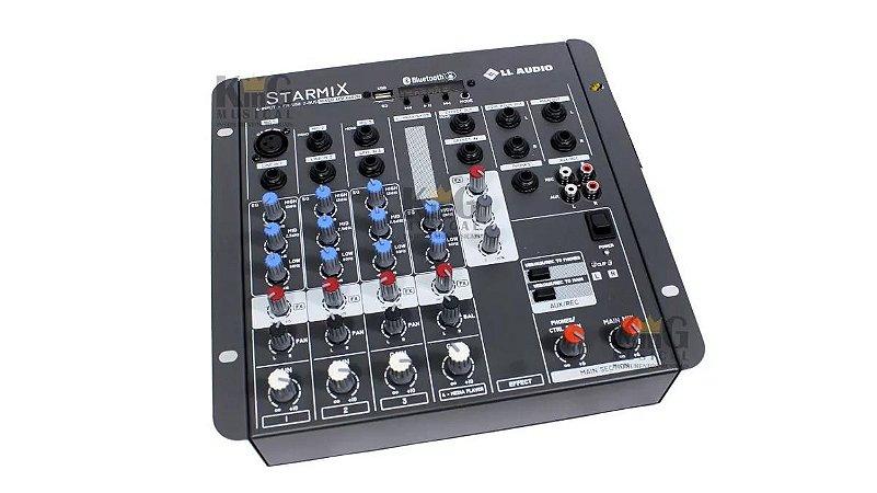 Mesa De Som Ll Mixer Com Efeitos Gravador Bluetooth Fx402r 4 Canais