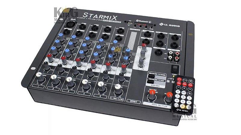 Mesa De Som Ll Audio Mixer 6 Canais Com Usb Starmix Usfx602r Gravador Starmix Efeitos