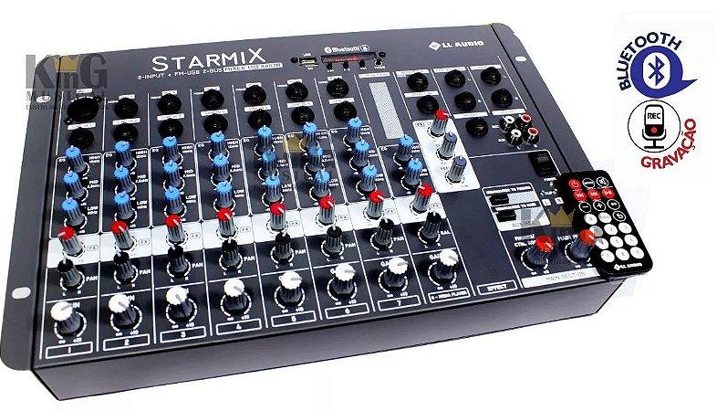 Mesa De Som Ll Audio Mixer 8 Canais Com Usb E Efeitos FX802 Gravador Bluetooth