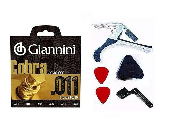 Corda Giannini Aço Cobra 011 Capo Palheta Encordoador Porta