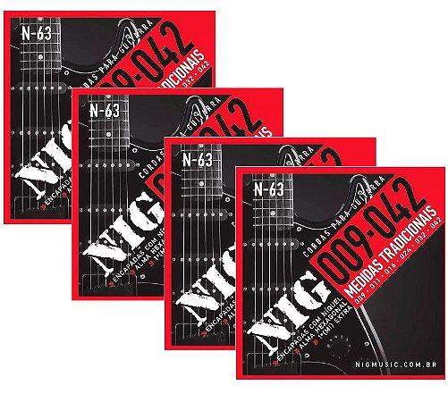 Atacado Kit 4 Encordoamento Nig Para Guitarra Elétrica 009