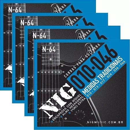Atacado Kit 4 Encordoamento Nig Para Guitarra Elétrica 010
