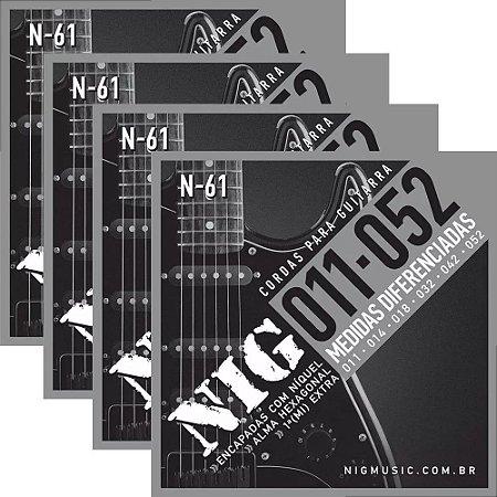 Atacado Kit 4 Encordoamento Nig Para Guitarra Elétrica 011