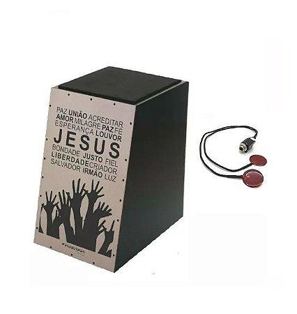 Kit Cajon Acústico Gospel Jesus Louvor Wood + Captador