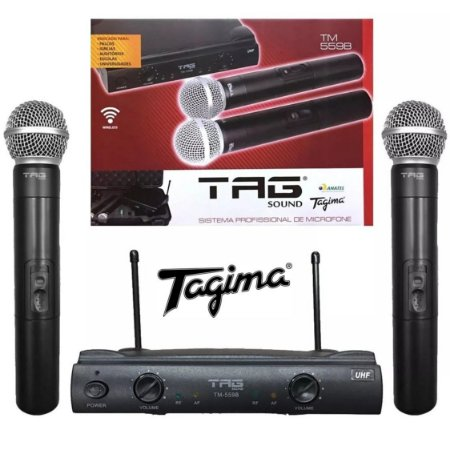 Microfone Duplo Sem Fio Uhf Tagima Tagsoud Tm559b 2 Antenas