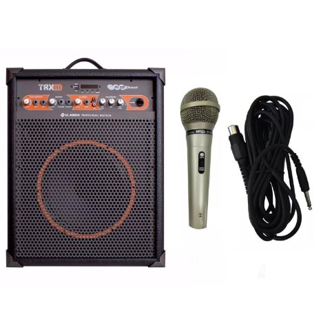 Kit Amplificador Multiuso Trx10 40w Microfone Porta De Loja