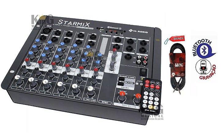 Mesa De Som Mixer 6 Canais Usb Gravador Efeitos + Cabo 4MT