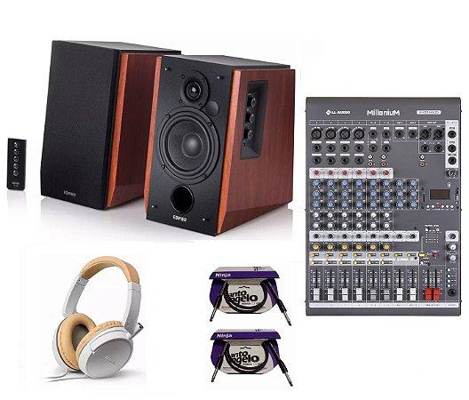Kit Home Estudio Caixa Edifier 66W Fone Mesa 8C Cabo P10