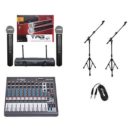 Kit Microfone S/ Fio Tagima Mesa de Som 10 Canais Pedestal