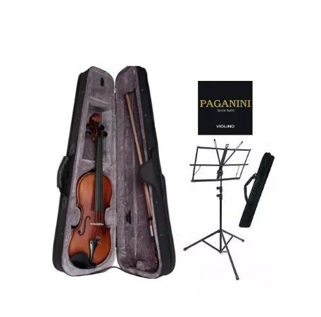 Kit Violino 4/4 Schieffer Case Arco Breu Partitura Corda