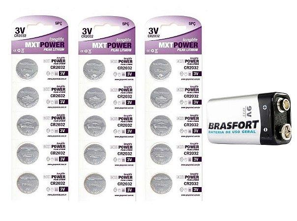 3 Cartelas Bateria Lithium 2032 3V Pilha MXT + 1 Bateria 9V