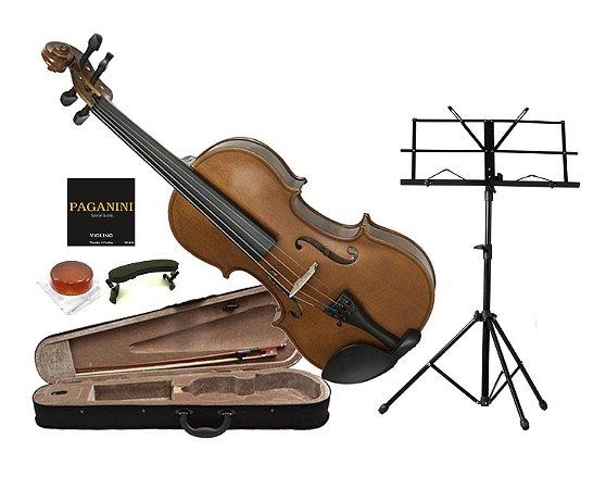 Kit Violino Dominante 3/4 Partitura Case Afinador Corda Breu