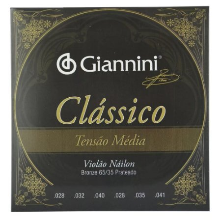 Encordoamento Violão Nylon Giannini Tensão Média Clássico