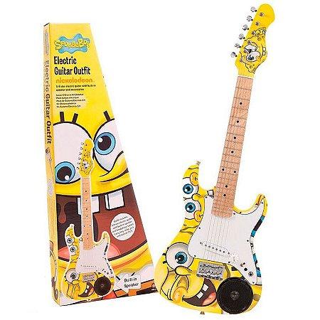 Guitarra Infantil Bob Esponja C/ Alto Falante Capa Cabo Correia DVD Palheta