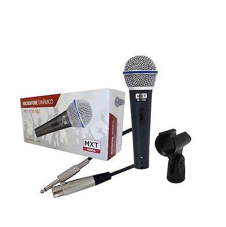 Microfone Com Fio de Mão Mxt Dinâmico Cachimbo Estojo BTM58A