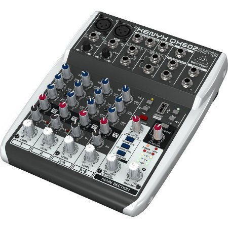 Mesa de Som Com 6 Canais Xenyx Behringer QX602 USB e MP3