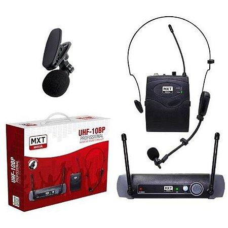Microfone Sem Fio MXT UHF 10BP Headset Lapela