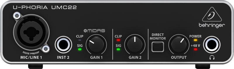 Interface De Áudio Behringer UMC22 Pré Midas