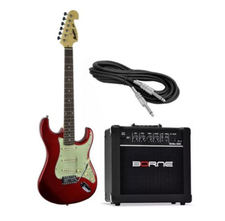 Kit Guitarra Tagima Memphis MG32 MR Cubo Borne G30 15W Cabo