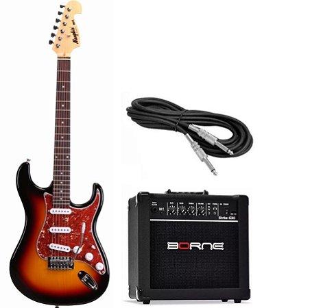Kit Guitarra Tagima Memphis MG32 SB Cubo Borne G30 15W Cabo