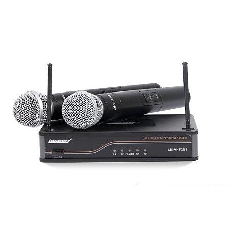 Microfone Sem Fio VHF Lexsen LM-VHF258 Bivolt