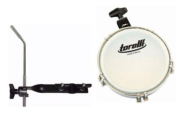 Kit Tamborim Torelli Com Clamp TT409 Leitosa E Suporte TA422