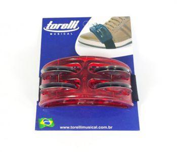 Pandeirola De Pé Torelli Tp303 Com 4 Platinelas Vermelho