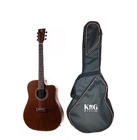 Kit Violão Elétrico Folk Rozini 6 Cutaway Rx315 + Capa Luxo