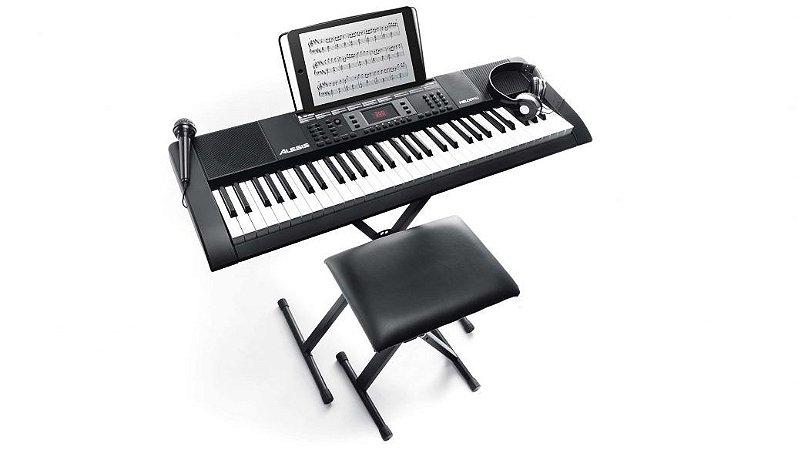 Teclado Alesis Melody 61 Teclas Banco Suporte Fone Microfone