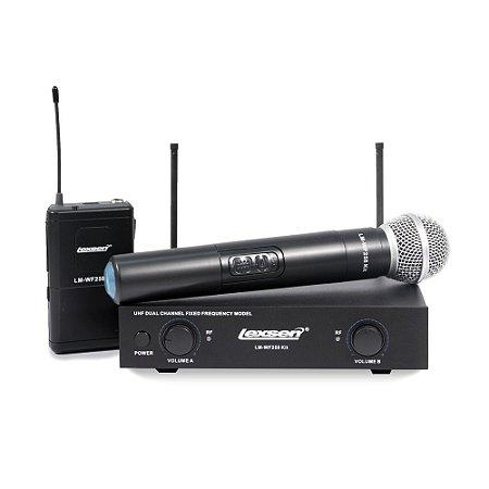 Microfone sem fio Dinâmico Lexsen LM-WF258 KIT Bivolt