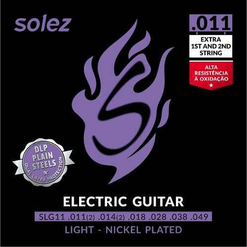 Encordoamento Para Guitarra Solez 011 2 Cordas Extras