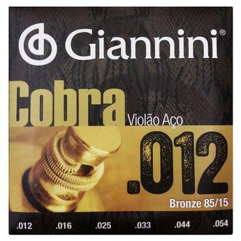 Encordoamento de Aço Para Violão Giannini 012 Bronze 85/15