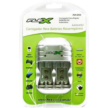 Carregador de Pilhas e Baterias 9V Bivolt Flex FXC03