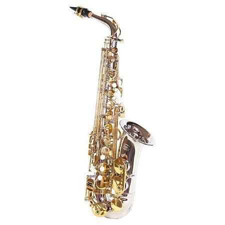 Saxofone Alto Jahnke JSAH001 em Mi Bemol Niquelado Laqueado