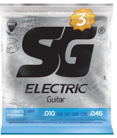 Encordoamento Corda SG 010 Niquel Para Guitarra Pacote Com 3