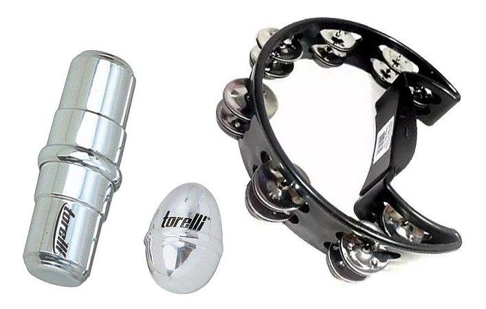 Kit Pandeiro Meia Lua Ganza Tg550 Ovinho Aluminio Percussão