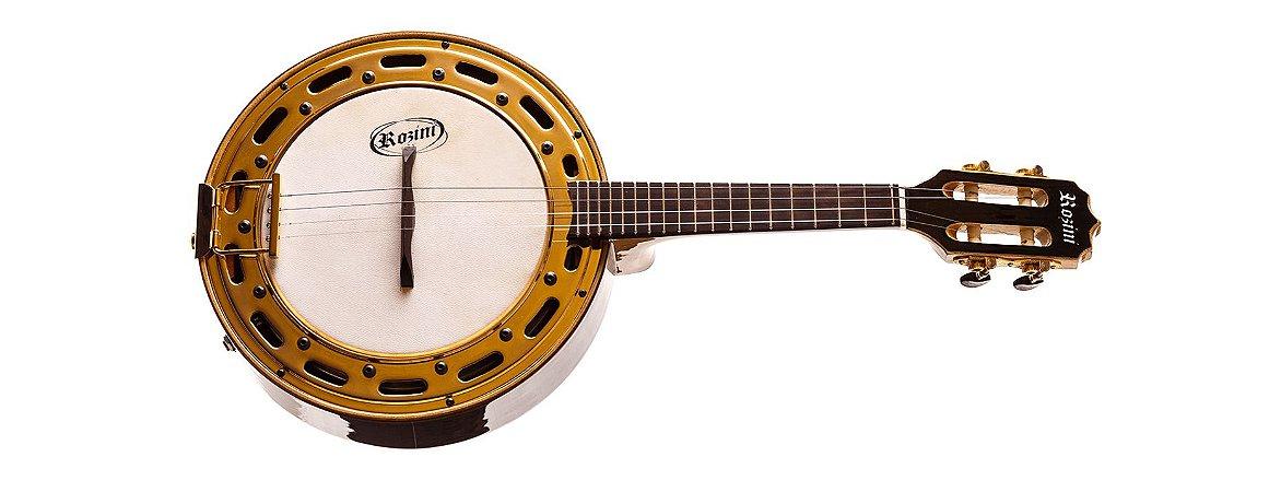 Banjo Rozini Elétrico Profissional Natural Em Jacarandá RJ12