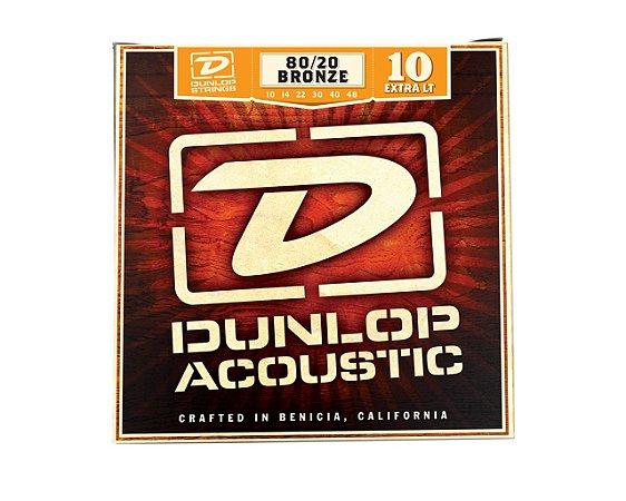 Enc. 010 Bronze 80/20 P/violao Aco Extra/leve Dab1048 Dunlop