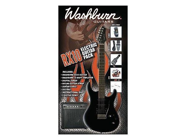 Kit Guitarra Washburn RX10 RX10B PAK Preta 220V