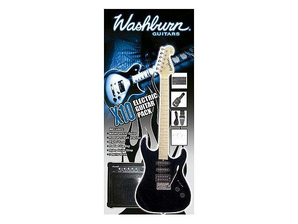 Kit Guitarra Washburn RX10 X10B PAK Preta 220V