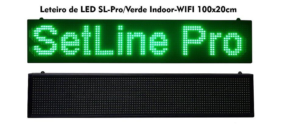 Painel de Led Verde WIFI Letreiro Luminoso SL1025 100X20