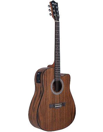 Violão Elétrico Folk Memphis MD25 Natural Walnut Dreadnought