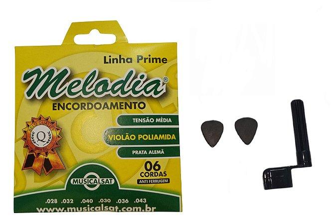 Kit Acessórios Violão Corda Melodia Nylon Encordoador
