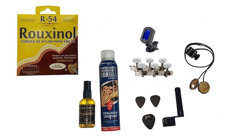 Kit Acessórios Violão Nylon Rouxinol R54 Tarraxa Captador